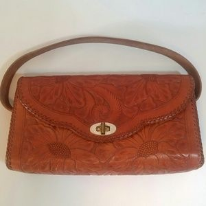 Vintage Hand Tooled Floral Leather Purse